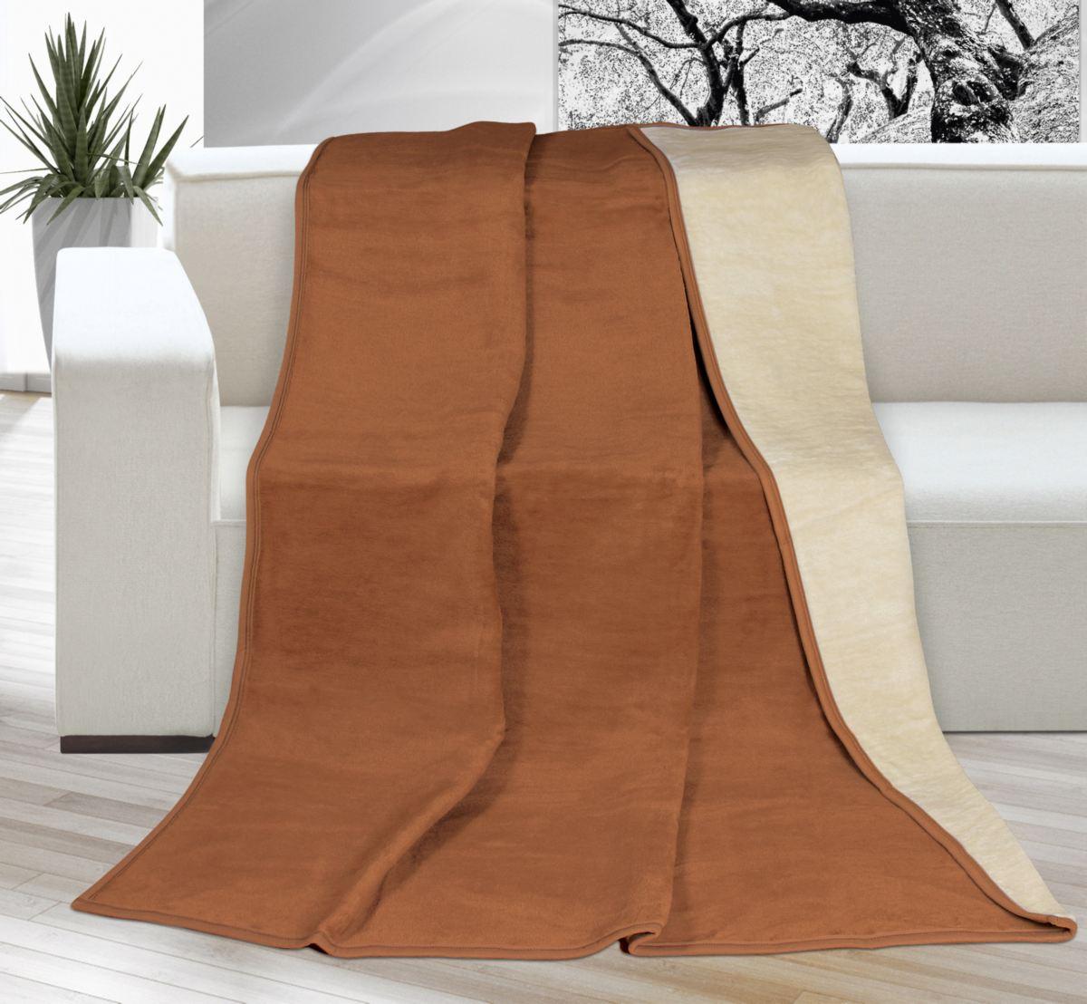 Velká deka larisa béžová/světle hnědá 200 x 230 cm