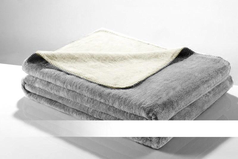 Bílá - Šedá bavlněná deka
