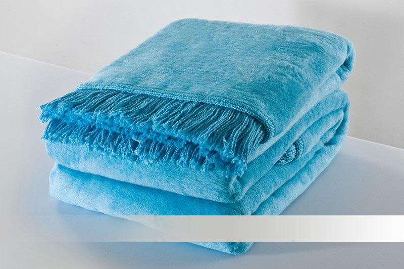 Tyrkysová deka s třásněmi - bavlněná deka