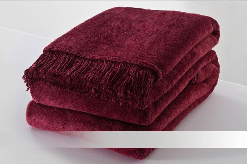 Bordó deka s třásněmi - bavlněná deka
