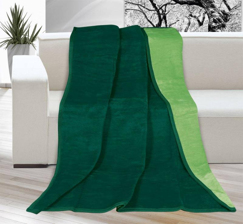 Velká deka larisa světle/tmavě zelená 200 x 230 cm